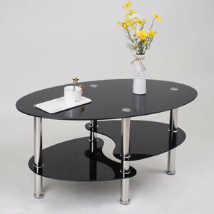 Details About Black Coffee Table Glass Tea Table Oval 3 Tier Design Chrome Leg Living Room