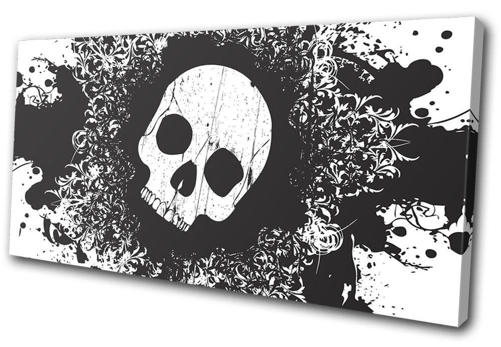 Skull Grunge B W Illustration SINGLE SINGLE SINGLE TELA parete arte foto stampa 5990c5