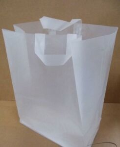 100 clear frosted plastic handle shopping party gift bags lot bulk frost medium ebay. Black Bedroom Furniture Sets. Home Design Ideas