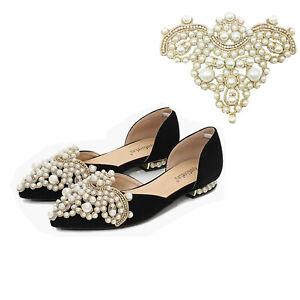 Pearl-Diamante-Shoe-Clips-Crystal-Rhinestone-Applique-Wedding-Bridal-Crafts