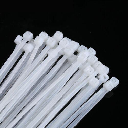 1000Pcs White Nylon Plastic Zip Trim Wrap Cable Loop Ties Cord Wire Self Lock