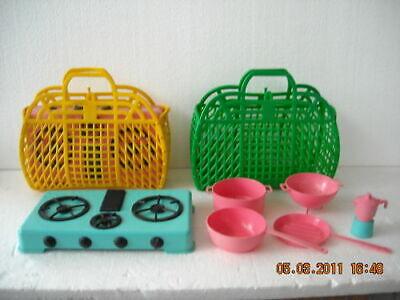Borsetta + Cucina 3 Fuochi + 5 Accessori Prb Anni '80 Modellazione Duratura