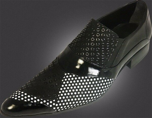 Og chelsy - Italiano Diseñador Hecho a Mano Zapato Patrón Agujeritos Negro 44