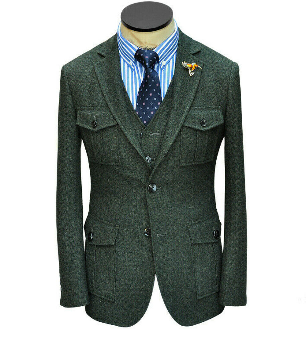 Men's Safari Suits Herringbone Hunting 3 Pieces Army Green Vintage Tweed Tuxedos
