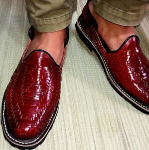 5a30bd2903895 La foto se está cargando Para-hombres-cuero-calzado-mexicano-Huarache -Informal-Vestido-
