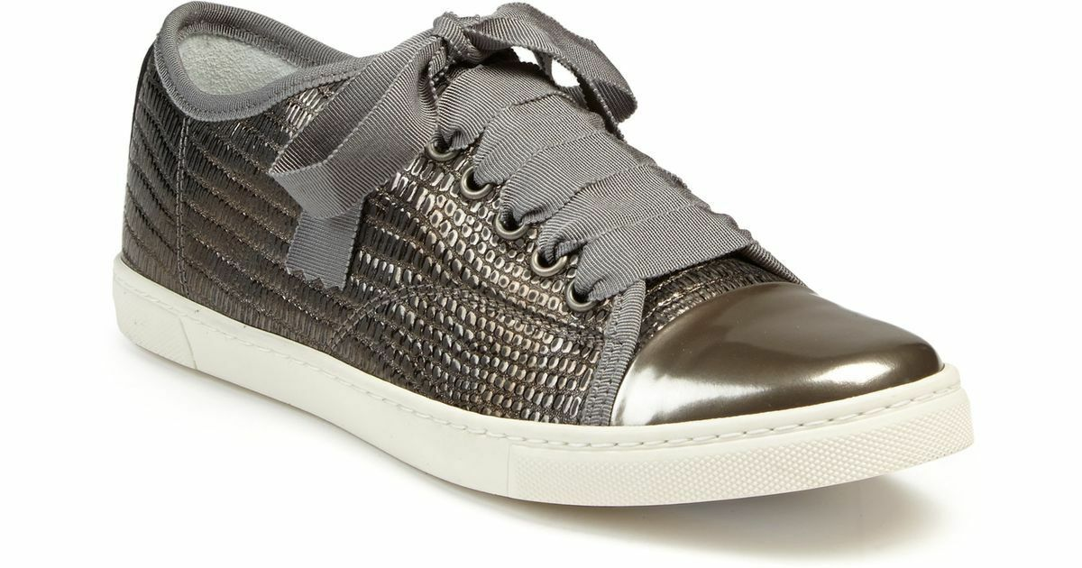 c9e113e002b Lanvin Metálico Serpiente en Relieve Low Top Con Cordones Zapatillas EE.  UU. 7