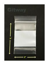1000 2 X 3 Small White Block Writeable Resealable Zipper Top Plastic Bags 4mil