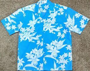 Royal-Creations-Men-039-s-Blue-amp-White-Floral-Hawaiian-Shirt-Made-in-Hawaii-Size-L