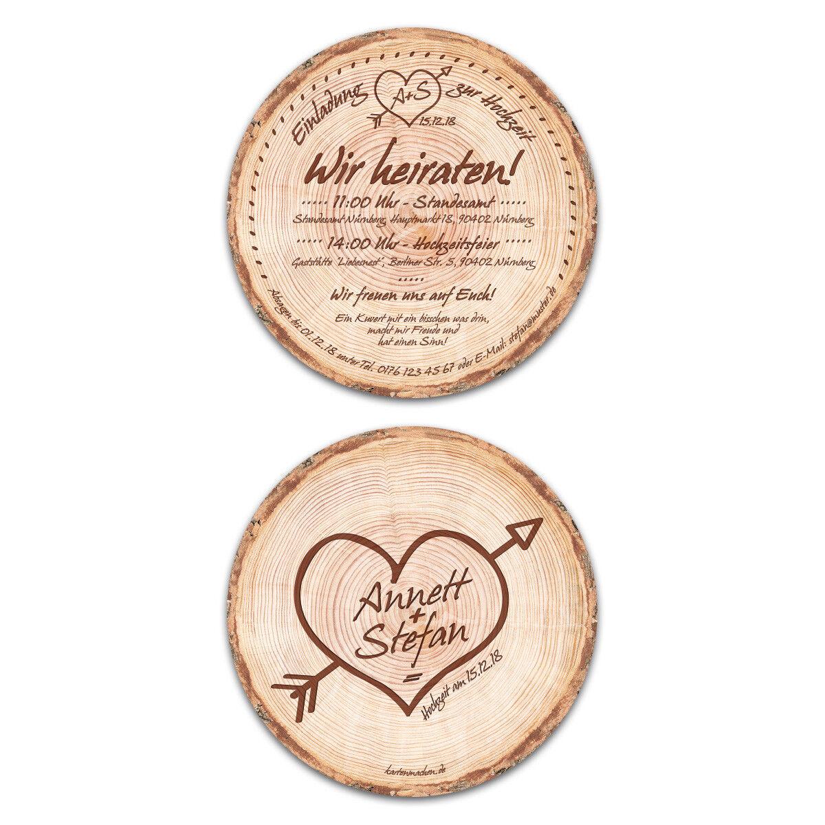 Runde Hochzeitseinladungen Einladungskarten Hochzeit - Baumscheibe Holz Motiv | Nicht so teuer  | Einfach zu bedienen