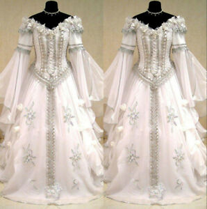 Details about Medieval Victorian Gothic Wedding Dresses Off Shoulder Long  Sleeve Bridal Gown