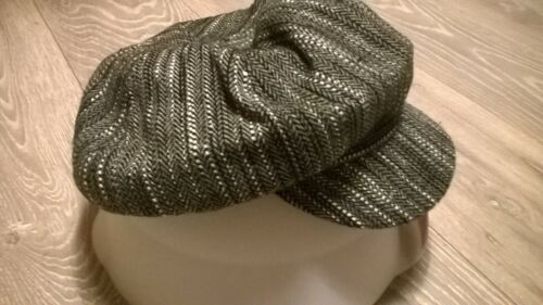 Hommes Plat Cap patraque oeillères Tweed Pays Herringbone Baker Boy Hunting Greys