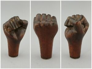 Antique-Hand-Carved-Fist-Cane-Handle-Topper-Gear-Shift-Knob-1800s-Vintage