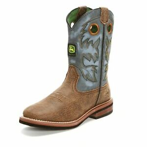John-Deere-JD3317-Youth-Tan-Sand-Blue-Leather-Pull-On-Western-Boots