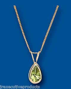 Peridoto-Colgante-Collar-Y-Oro-Amarillo-Liso-Set