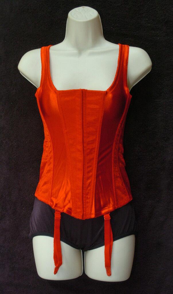 Crepe Suzette Foundations Fancy 4 Strap Red Corset Plus Size 40