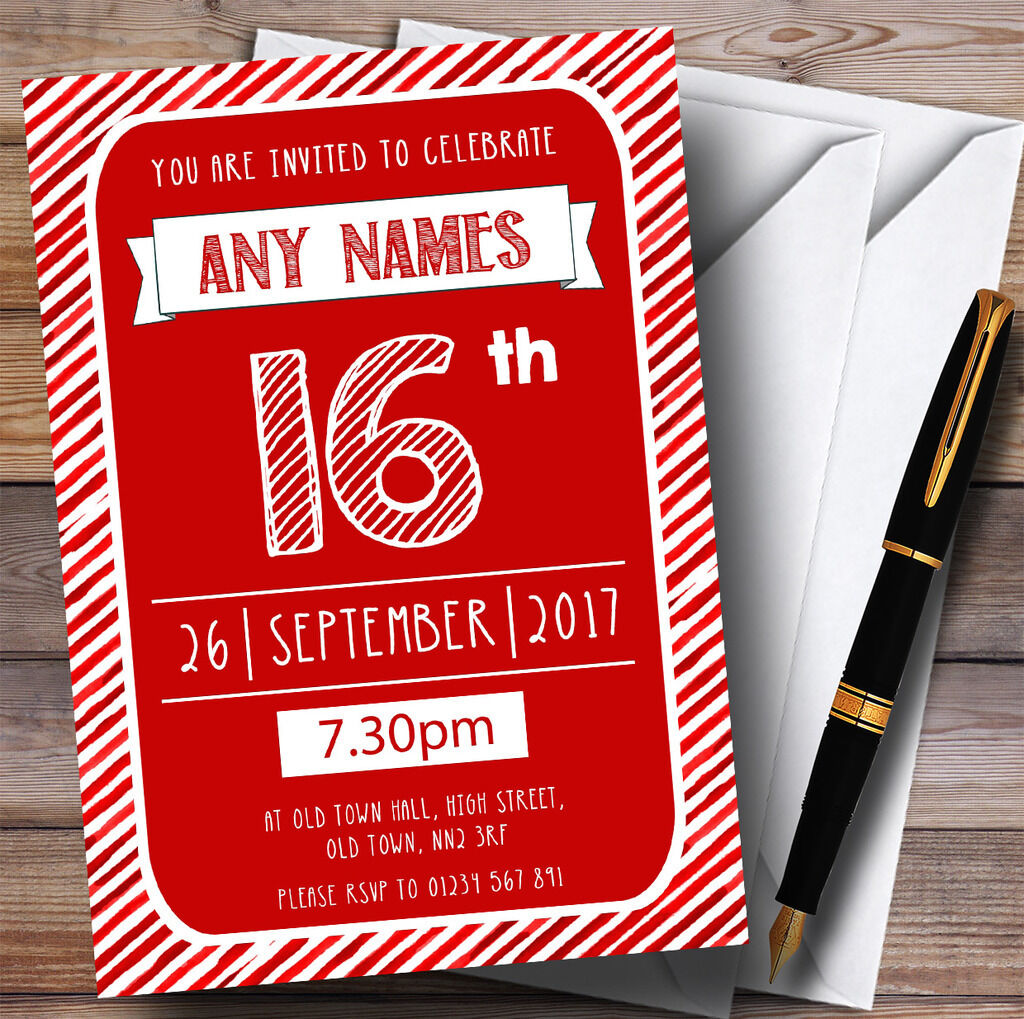 ROT Weiss Stripy Party Deco 16th Personalised Birthday Invitations 497769