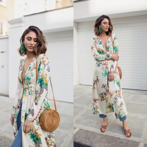 Long TaillesS 049 New Zara Ref4043 2017 Floral Kimono Champagne Ss D2IE9YeWH