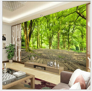 3d photo wallpaper forest tree nature wall sticker living for Nature wallpaper for living room