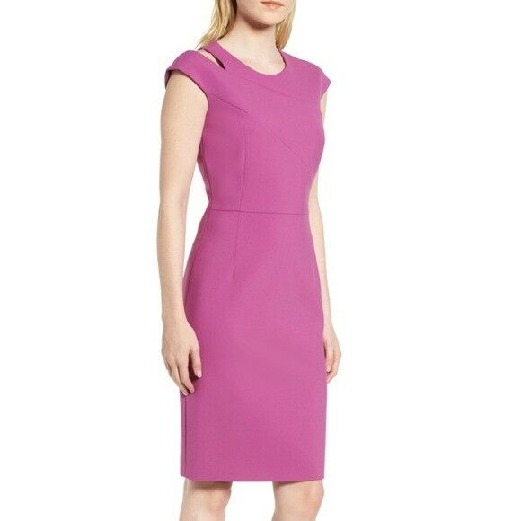 Hugo Boss Danouk Women's Crepe Purple Magenta Shift Dress Size 10  575