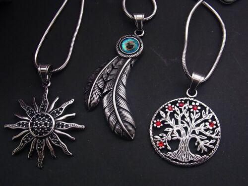 Echt Edelstahl Kette Halskette Anhänger Lebensbaum Sonne Feder Auge