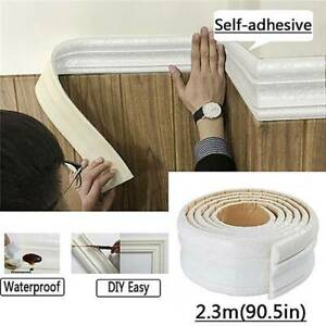 Home-3D-Self-adhesive-Decor-Wall-Molding-Skirting-Line-Mural-Border-Sticker-Fash