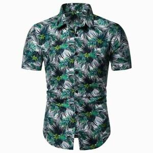 Stylish-luxury-short-sleeve-floral-dress-shirt-casual-formal-men-039-s-slim-fit-tops