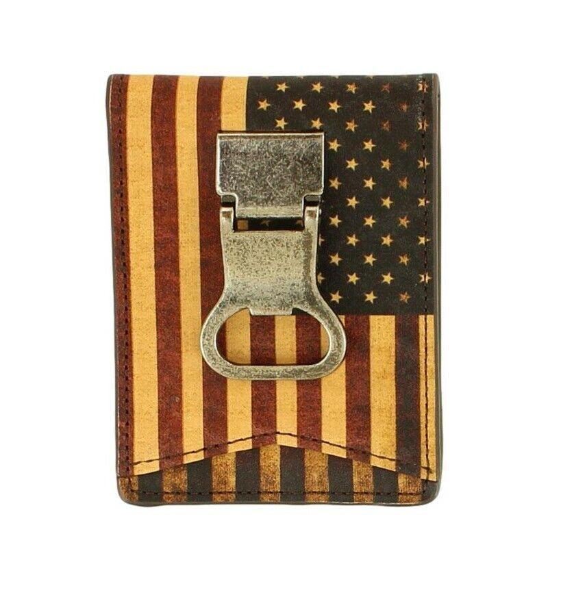 NOCONA Men's Vintage USA Flag Leather Bifold Money Clip Wallet Bottle Opener