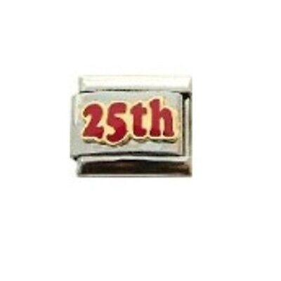 9mm Classic Size Italian Charm E75 25 25th Birthday Anniversary