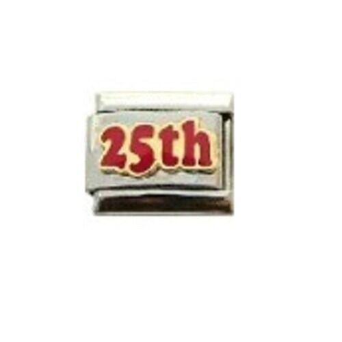 Encanto italiano 9mm E75 25 25th aniversario de cumpleaños se adapta Tamaño Clásico Pulsera