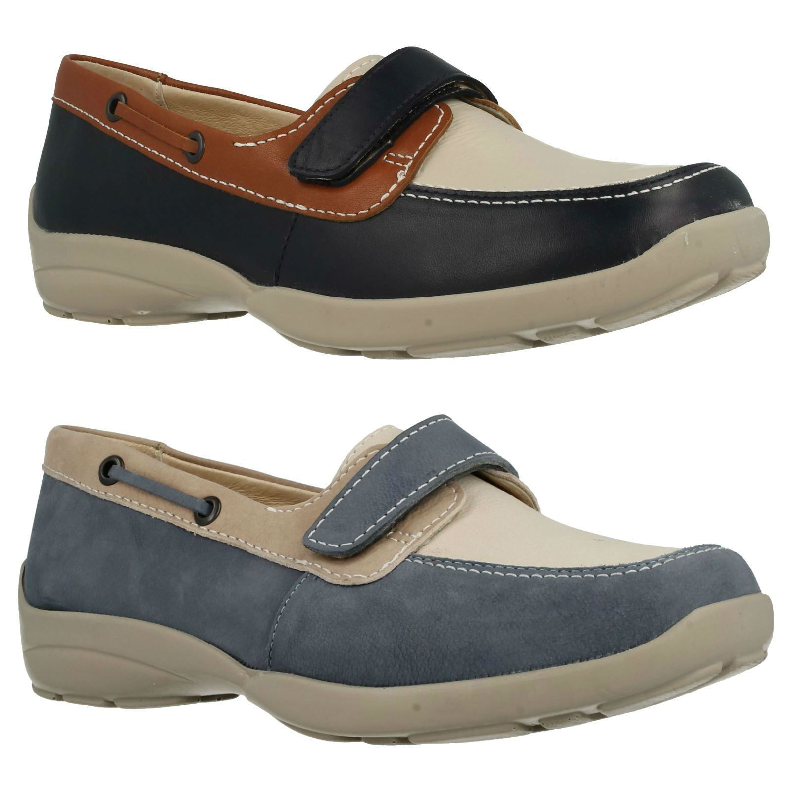 LADIES LEATHER DB EASY B ELIZABETH RIPTAPE FASTENING LEATHER LADIES CASUAL FLAT EVERYDAY Schuhe 305550