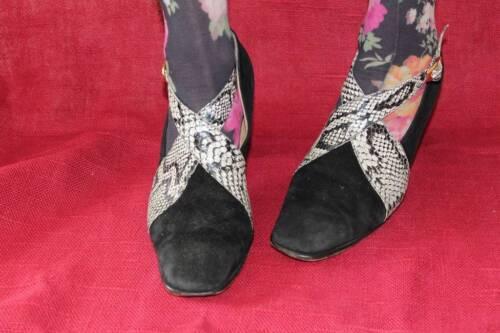 En Vintage Véritable Cuir Cuir Serpent Serpent De Talons Pompes Femmes Chaussures Vtg 39 En Pour True Uk6 wIPqdI
