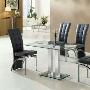 Jet Small Dining Table Rectangular In Clear Glass Ebay