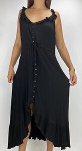 CITY CHIC Black Crepe Ruffle Hi-lo Button Front Midi Dress Plus Size S AU 16