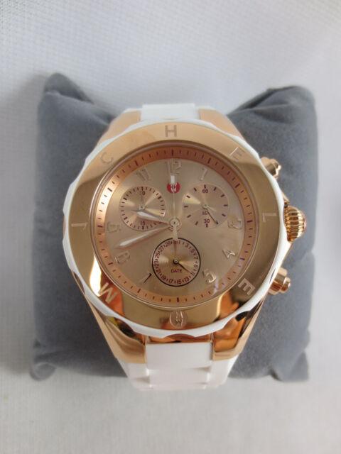 3e2e7a7a4 MICHELE White Tahitian Jelly Bean 40mm Rose Gold Chronograph Watch  MWW12F000030
