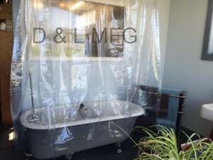 Clawfoot Tub Vinyl Shower Curtain Clear Without Magnetsc0 Ebay