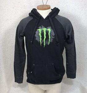 Monster-Energy-Men-s-Hoodie-sz-Medium-Sweater-Pullover-Black-Fitted