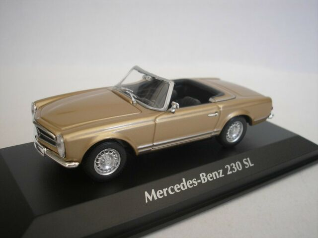 Mercedes Benz 230 Sl 1965 Gold Metallic 1/43 maxichamps 940032230 New