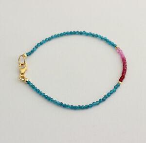 Neon Apatit mit Rubin  Armband edelsteinarmband Blau-Rot Armkette Damen 19 cm