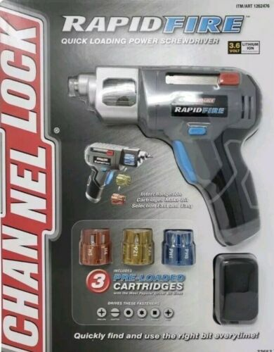 Channel Lock Rapid Fire Power Quick Loading Screwdriver 3 Pre-Loaded Cartridges
