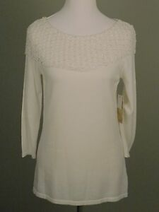 NWT-Reba-Radiance-Women-039-s-Sweater-White-Sequin-Summer-Tunic-Size-S-88