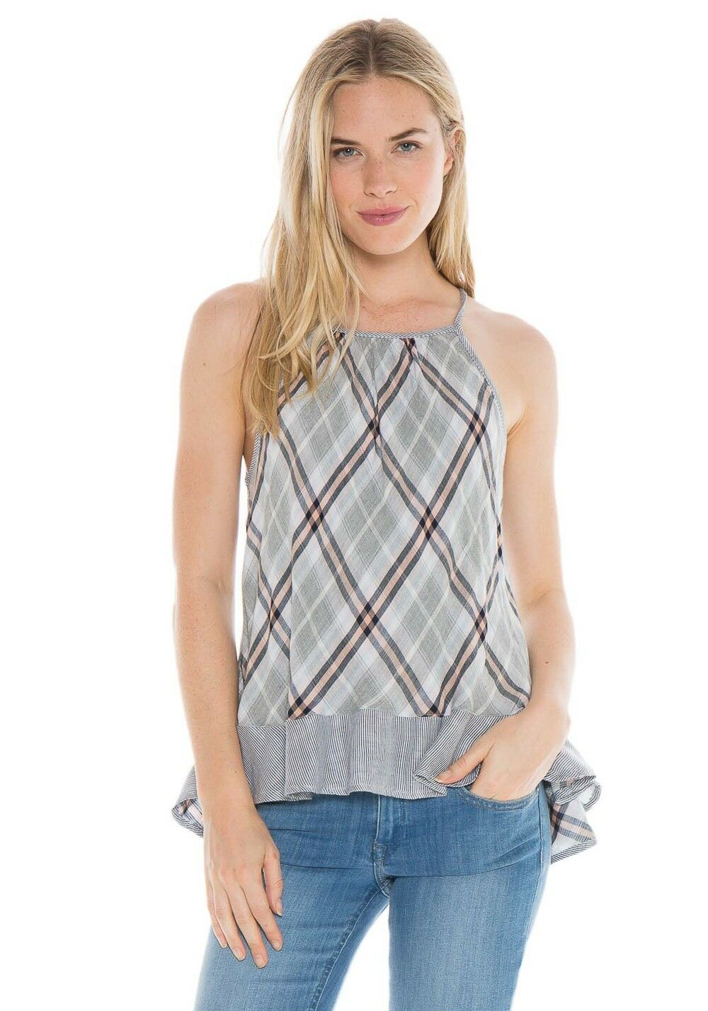 NEW CLOTH & STONE SzS BIAS PLAID HALTER CAMI IN PALM CANYON