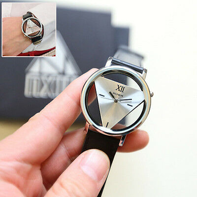 US HOT Mens Womens Unique Hollowed-out Triangular Dial Black Fashion Watch