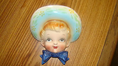 Vintage Hand Painted Boy/Girl with Hat and BOW TIE Head Vase Wall Pocket Marked