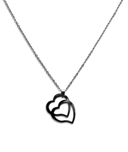 1204e Edelstahl Halskette 40-75cm mit Herz Anhänger 39 x 30mm in Silber
