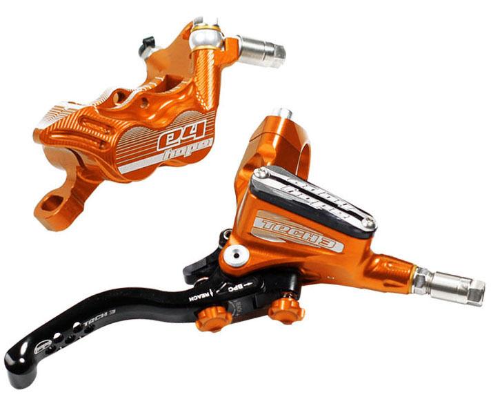 Hope Tech 3 E4 orange Front & Rear Braided Hose Brake Set - Brand New