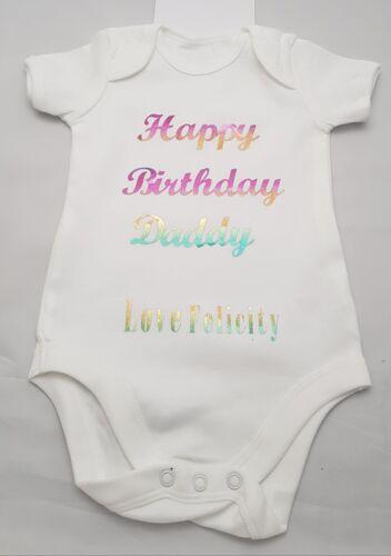Personalised Any Name Happy Birthday Baby Vest Grow Bodysuit Baby Girls Boys