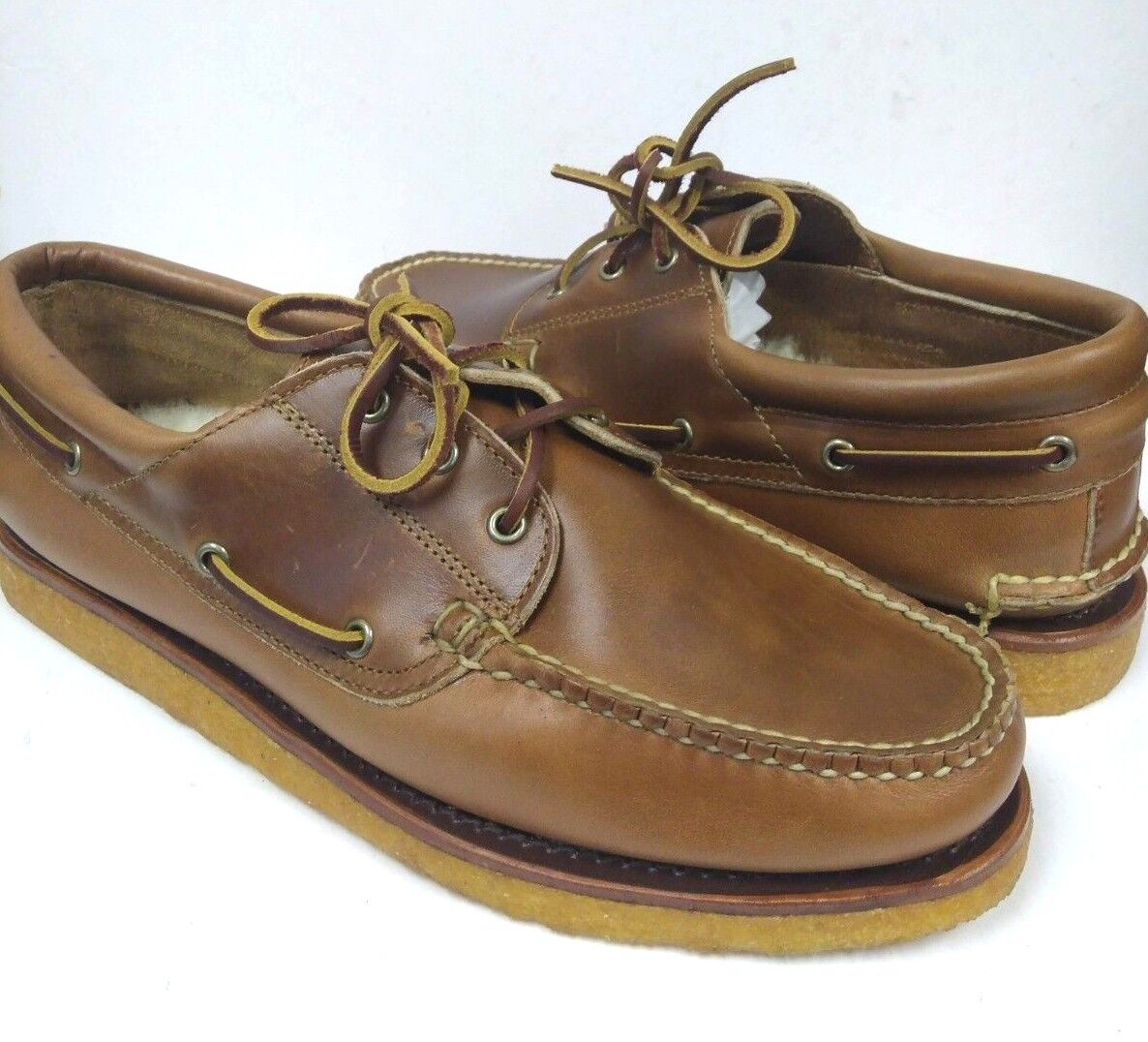 Ralph Lauren USA Made Tan Genuine Leather & Shearling Loafers Boat shoes 10 D