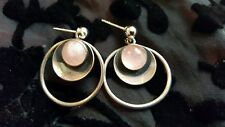 N E FROM Vintage 1970's Modernist Sterling silver/ Rose Quartz Earrings, pierced