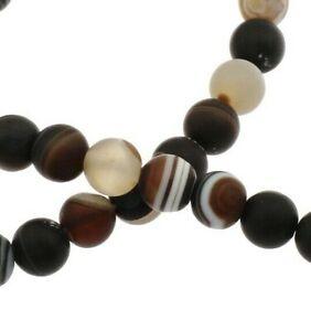 Natuerliche-Streifen-Achat-Perlen-Kugel-Matte-Dark-Braun-6mm-Edelsteine-Natur-G93