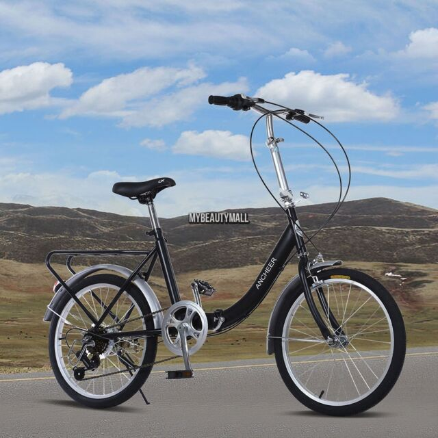 US SELLER! 6 Speed Folding BIKE Foldable Bicycle & CARRIER School Unisex Cycling